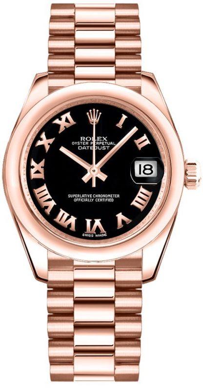 replique Rolex Datejust 31 cadran noir montre en or 178245