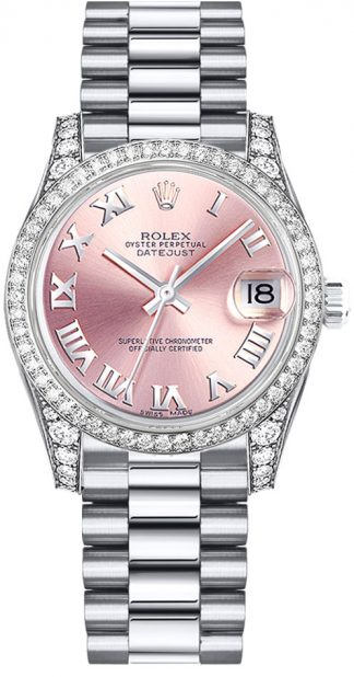replique Rolex Datejust 31 cadran rose montre en or blanc 178159