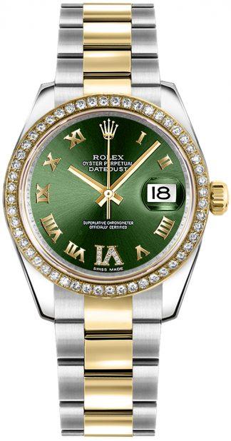replique Rolex Datejust 31 cadran vert en or jaune et acier 178383