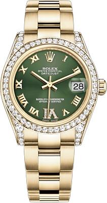 replique Rolex Datejust 31 cadran vert montre en or jaune 178158