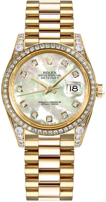 replique Rolex Datejust 31 nacre montre en or diamant 178158