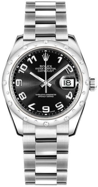 replique Rolex Datejust 31 or blanc et acier cadran noir Montre 178344