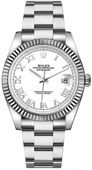 replique Rolex Datejust 36 18k White Gold Fluted Bezel Men's Watch 126234