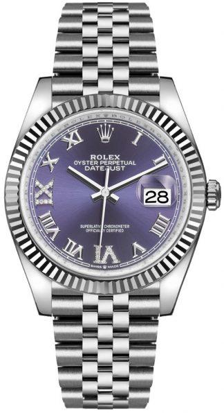 replique Rolex Datejust 36 Aubergine Dial Fluted Bezel Women's Watch 126234