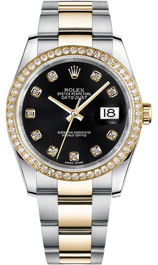 replique Rolex Datejust 36 Black Diamond Dial Oyster Bracelet Montre 116243