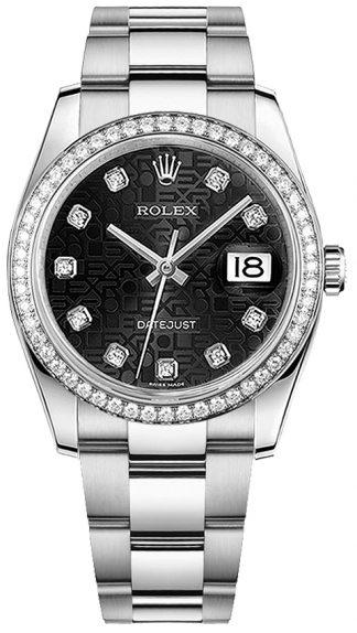 replique Rolex Datejust 36 Black Jubilee Diamond Gold & Steel Watch 116244