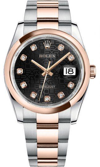 replique Rolex Datejust 36 Black Jubilee Diamond Oyster Bracelet Watch 116201