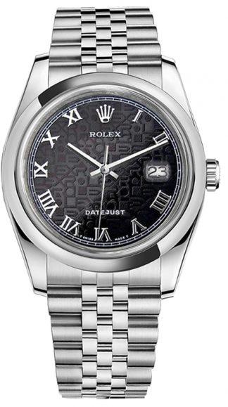 replique Rolex Datejust 36 Black Jubilee Montre à chiffres romains 116200