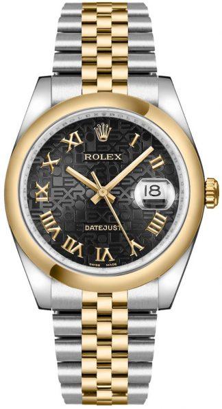 replique Rolex Datejust 36 Black Jubilee Montre à chiffres romains 116203