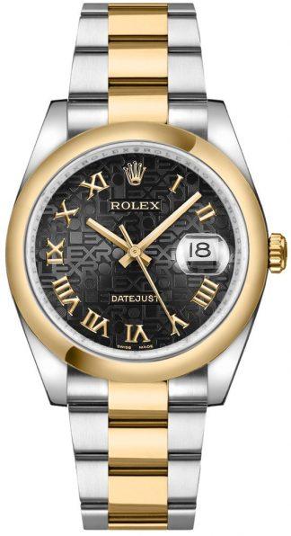 replique Rolex Datejust 36 Black Jubilee romaine Oyster Bracelet Montre 116203