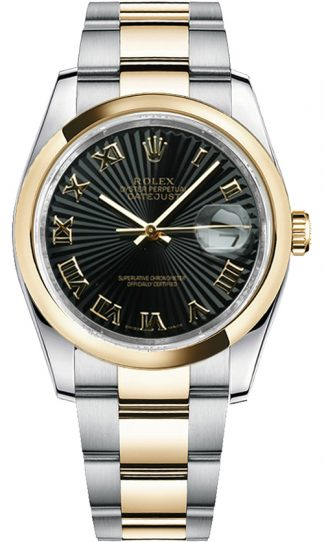 replique Rolex Datejust 36 Black Sunbeam Dial Watch 116203
