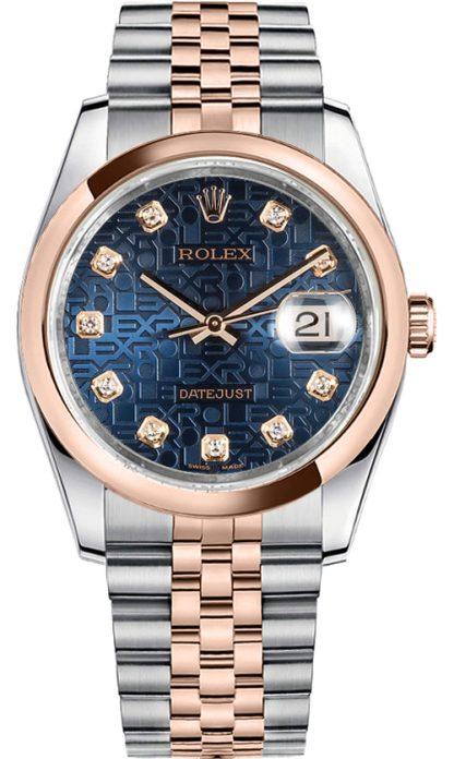 replique Rolex Datejust 36 Blue Diamond Dial Montre 116201