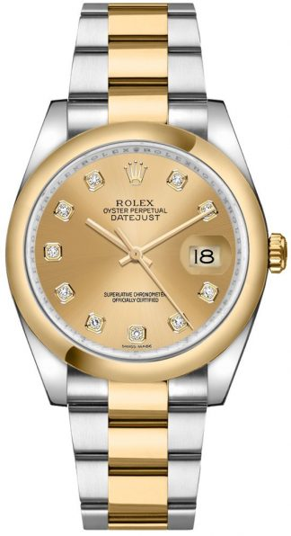 replique Rolex Datejust 36 Champagne Diamond Gold & Steel Watch 116203