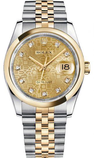 replique Rolex Datejust 36 Champagne Diamond Watch 116203