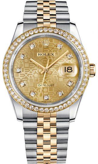 replique Rolex Datejust 36 Champagne Jubilee Diamond Dial Montre 116243