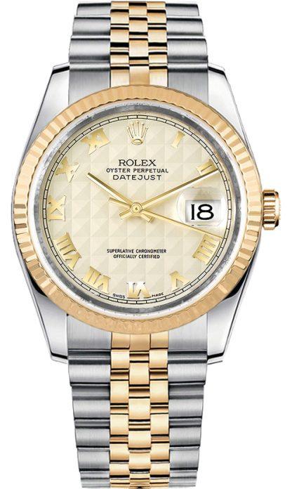 replique Rolex Datejust 36 Ivory Dial lunette cannelée Watch 116233