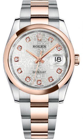 replique Rolex Datejust 36 - Montre à cadran en or rose et acier argenté 116201