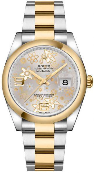 replique Rolex Datejust 36 - Montre à cadran floral argenté 116203