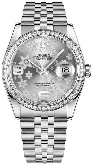 replique Rolex Datejust 36 - Montre à cadran floral argenté 116244