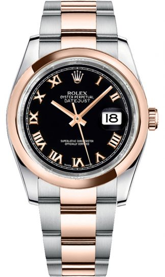replique Rolex Datejust 36 - Montre à cadran noir et chiffres romains 116201