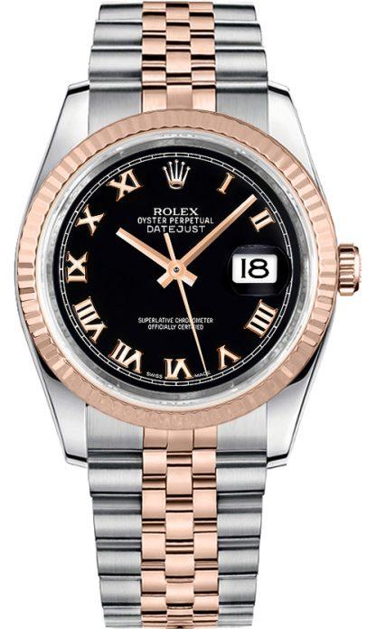 replique Rolex Datejust 36 - Montre à cadran noir et chiffres romains - 116231
