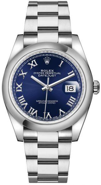 replique Rolex Datejust 36 - Montre à chiffres romains bleus 116200