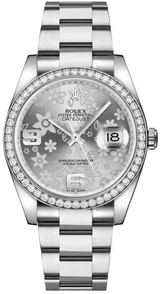 replique Rolex Datejust 36 - Montre à diamant floral en argent 116244