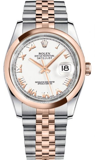 replique Rolex Datejust 36 - Montre bracelet jubilé avec chiffres romains blancs 116201