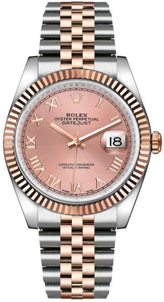 replique Rolex Datejust 36 - Montre-bracelet jubilé avec chiffres romains roses 116231