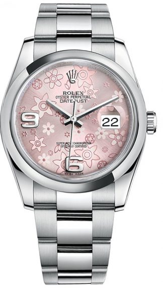 replique Rolex Datejust 36 - Montre en acier floral rose 116200