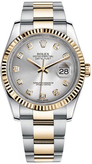 replique Rolex Datejust 36 - Montre lunette cannelée en diamant argenté 116233