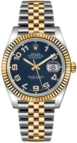 replique Rolex Datejust 36 - Montre lunette cannelée en or jaune 116233
