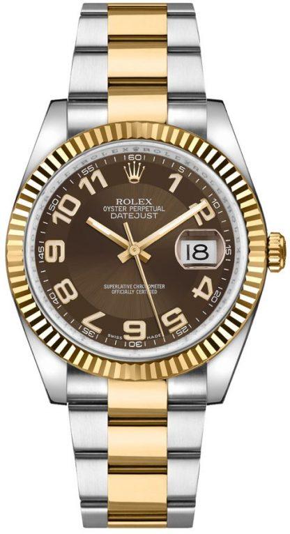replique Rolex Datejust 36 - Montre lunette cannelée en or jaune massif 18 carats 116233