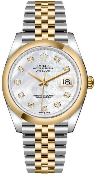 replique Rolex Datejust 36 Mother of Pearl Domed Bezel Men's Watch 126203