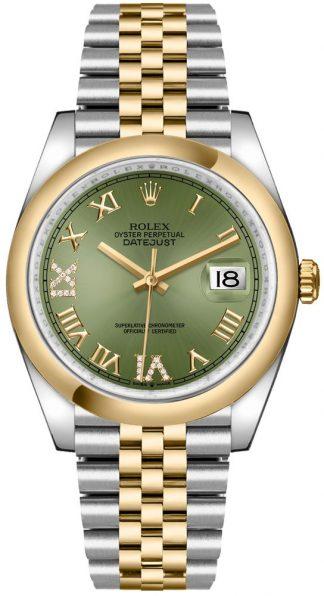 replique Rolex Datejust 36 Olive Green Dial Men's Watch 126203