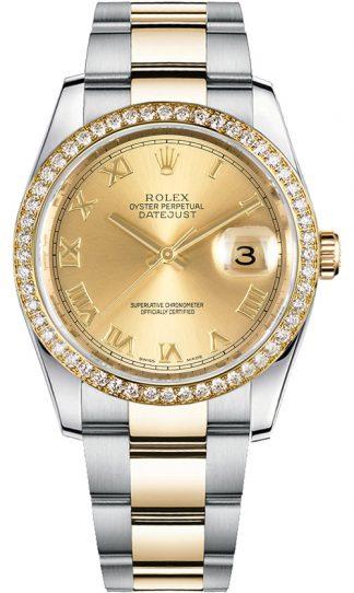 replique Rolex Datejust 36 Oyster Bracelet cadran champagne Montre 116243