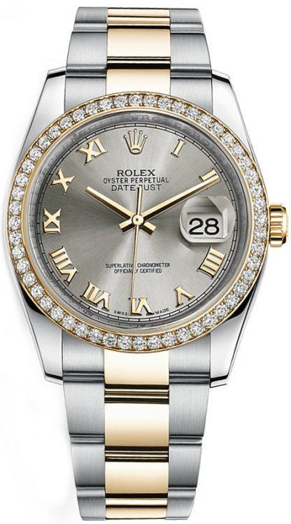 replique Rolex Datejust 36 Oystersteel & Yellow Bezel Diamond Watch 116243