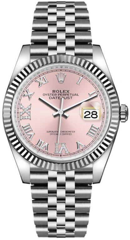replique Rolex Datejust 36 Pink Roman Dial with Diamonds Women's Watch 126234