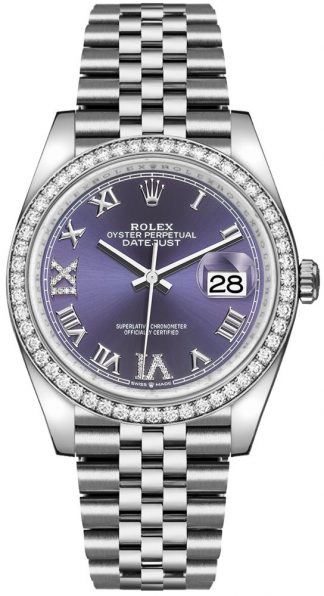 replique Rolex Datejust 36 Purple Roman Numeral Women's Watch 126284RBR