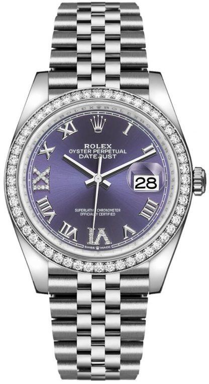 replique Rolex Datejust 36 Purple Roman Numeral Women's Watch 126284RBR