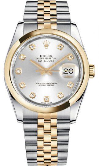 replique Rolex Datejust 36 Silver Diamond Watch 116203