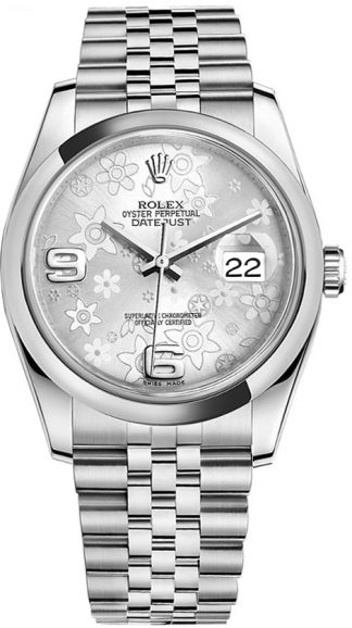 replique Rolex Datejust 36 Silver Floral Ladies Watch 116200
