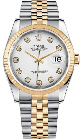 replique Rolex Datejust 36 White Diamond Dial Montre homme 116233