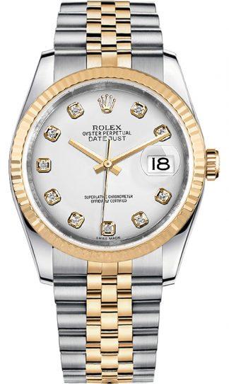 replique Rolex Datejust 36 White Diamond Dial Montre homme 116233