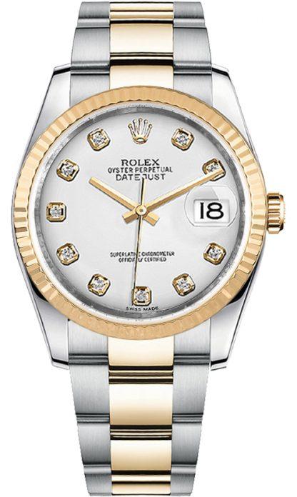 replique Rolex Datejust 36 White Diamond Dial Oyster Bracelet Watch 116233