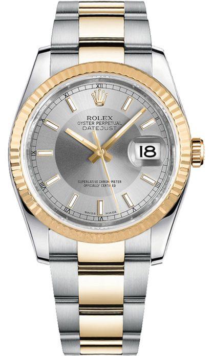 replique Rolex Datejust 36 cadran argenté et acier 116233