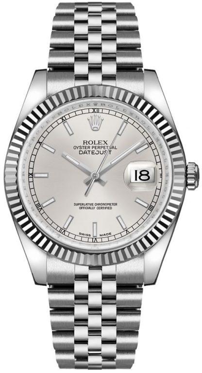 replique Rolex Datejust 36 cadran argenté lunette cannelée Jubilee Bracelet montre 116234