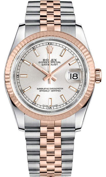 replique Rolex Datejust 36 cadran argenté lunette cannelée montre 116231