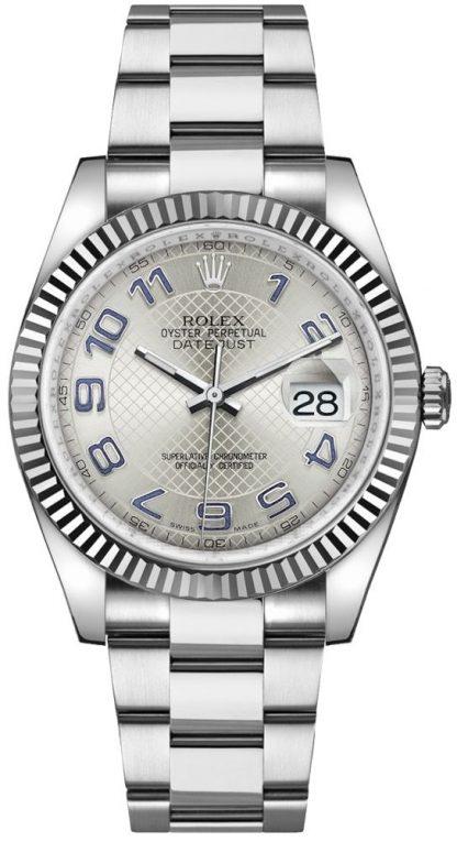 replique Rolex Datejust 36 cadran argenté lunette cannelée montre 116234