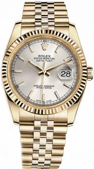 replique Rolex Datejust 36 cadran argenté montre en or 116238